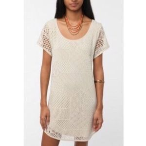 UO Ecote Cream Lace Crochet Overlay Shift Dress